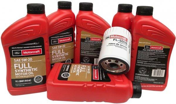 Oryginalny filtr oraz olej silnikowy Motorcraft 5W20 Full Synthetic Ford Fusion 3,0 V6 2009-