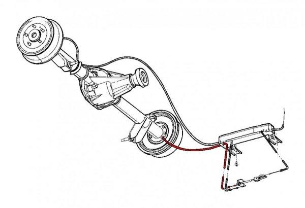 Lewa linka hamulca postojowego ręcznego do bębnów Jeep Wrangler TJ 1997-2006