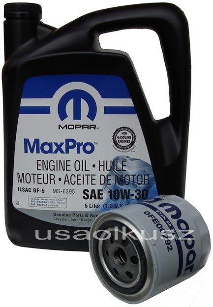 Filtr oleju + olej MOPAR 10W30 Dodge Spirit