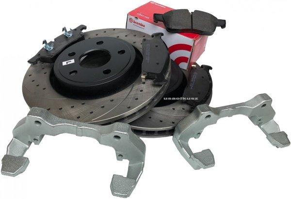 Przednie klocki BREMBO + WIERCONE tarcze hamulcowe HD Jeep Grand Cherokee 3,6 V6 2011-