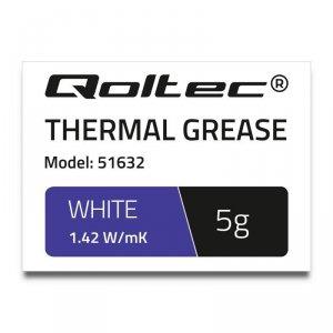 Pasta termoprzewodząca Qoltec 1.42 W/m-K | 5g | Biała
