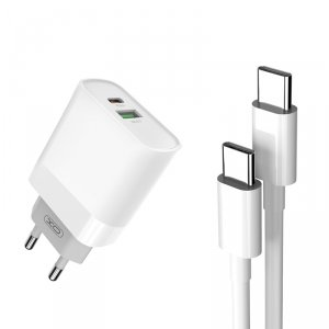 XO ładowarka sieciowa L64 PD QC 3.0 18W 1x USB 1x USB-C biała + kabel USB-C - USB-C