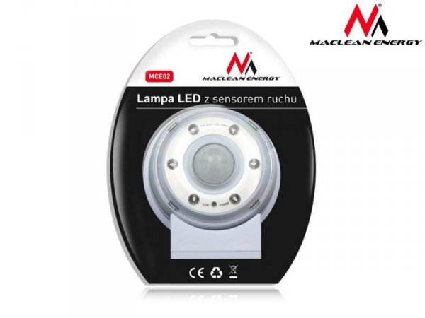 Lampa LED z sensorem ruchu Maclean MCE02 magnes, stojak, haczyk czas świecenia 20s 60s 90s 4xAAA
