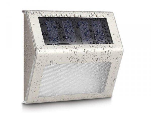 Lampa solarna Maclean MCE119 2LED na ogrodzenie schody Inox