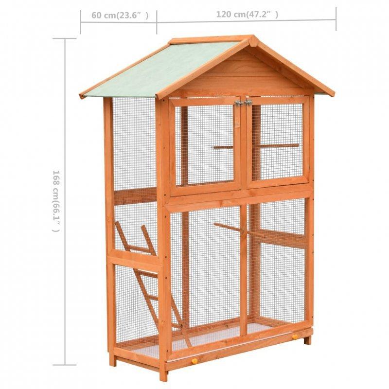 Klatka dla ptaków, drewno sosnowe i jodłowe, 120x60x168 cm