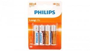 Bateria cynkowo-węglowa R6 / AA 1,5V LongLife R6L4B/10 /blister 4szt./