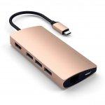 Satechi USB-C Multiport Ethernet V2 HUB - 3xUSB 3.0 / Ethernet / HDMI / USB-C (PD) / SD / microSD / Gold (złoty)