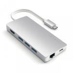 Satechi USB-C Multiport Ethernet V2 HUB - 3xUSB 3.0 / Ethernet / HDMI / USB-C (PD) / SD / microSD / Silver (srebrny)
