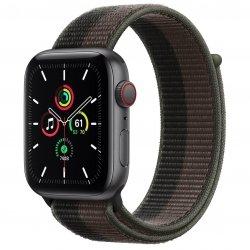 Apple Watch SE 44mm GPS + Cellular Aluminium w kolorze gwiezdnej szarości z opaską sportową w kolorze tornada/szarym