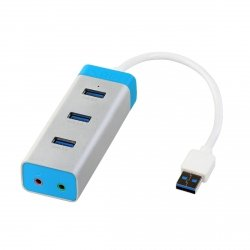 i-tec USB 3.0 Metal HUB 3 Port + Audio Adapter, 3x USB 3.0/2x Audio