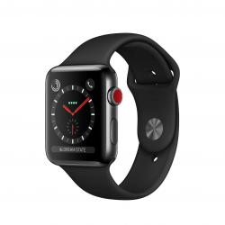 Apple Watch Series 3 / GPS + LTE / Koperta 42mm ze stali nierdzewnej w kolorze gwiezdnej czerni / Pasek sportowy w kolorze czarnym