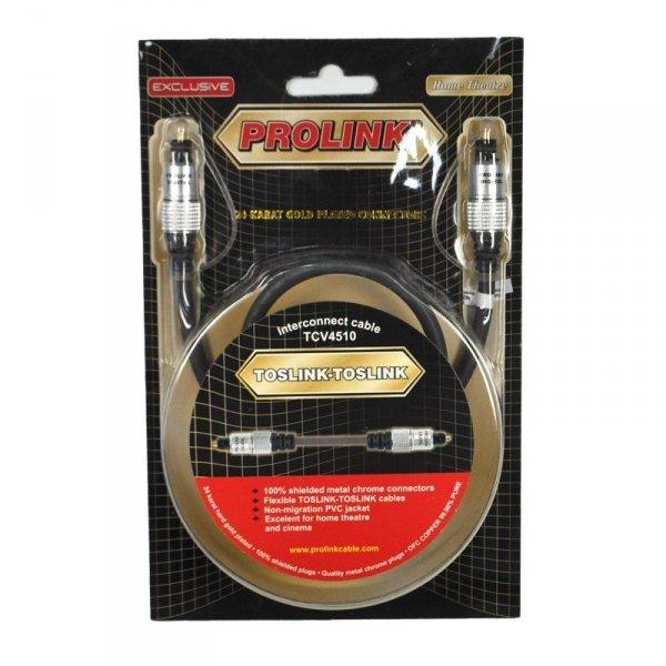 Kabel Toslink PROLINK Exclusive S/PDIF 1,2m pozłacany