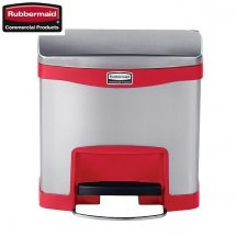 Kosz Slim Jim® Step-On 15L Metal stainless steel / red