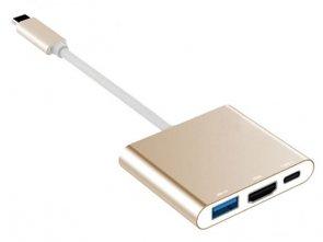 Przejściówka USB-C do HDMI + USB 3.0 HUB + USB-C Power do APPLE MacBook 12