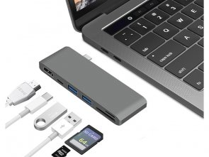 Przejściówka HUB USB-C 6w1 HDMI 4K USB 3.0 SD do Apple MacBook Pro