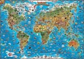 Świat mapa dla dzieci Listwa