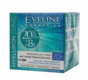 Eveline Hyaluron Clinic 70+ Regenerujący Krem aktywnie odbudowujący na dzień i noc  50ml