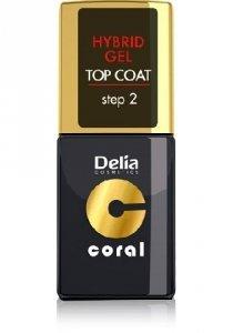 Delia Cosmetics Coral Hybrid Gel Emalia do paznokci Top Coat  11ml