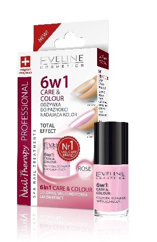 Eveline Nail Therapy Lakier odzywka 6w1 Care & Colour Rose  5ml