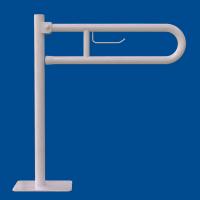 Uchwyt Uchylny WC dla Niepełnosprawnych wolnostojący z zawieszką na papier 60cm biały fi32