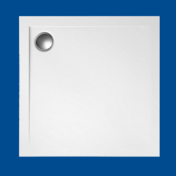 Brodzik posadzkowy najazdowy dla osób starszych i niepełnosprawnych biały akrylowy 90x90