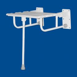 Krzesełko Prysznicowe dla Niepełnosprawnych Uchylne wzmocnione z nogą białe fi25