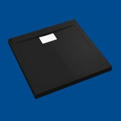 Brodzik posadzkowy najazdowy dla osób starszych i niepełnosprawnych czarny akrylowy 90x90