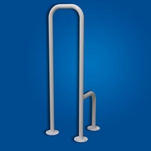 Uchwyt WC mocowany (tylko) do podłogi lewy biały fi25 dla osób niepełnosprawnych