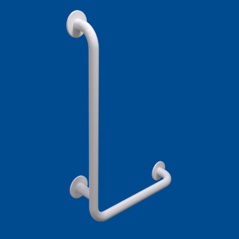 Uchwyt Kątowy dla Niepełnosprawnych lewy 60/40cm biały fi32 + MASKOWNICE