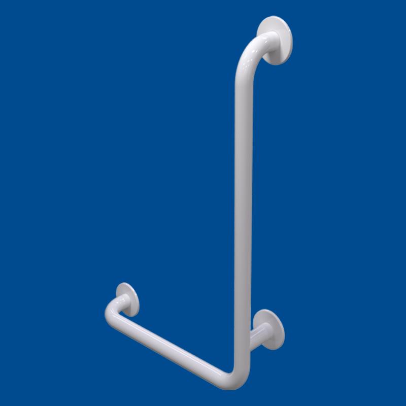 Uchwyt Kątowy dla Niepełnosprawnych prawy 100/40cm biały fi32 + MASKOWNICE