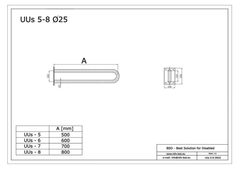 Uchwyt Umywalkowy / WC dla Niepełnosprawnych stały 70 cm biały fi25