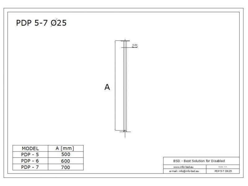 Podwieszenie drążka stałe 70cm stal nierdzewna fi25