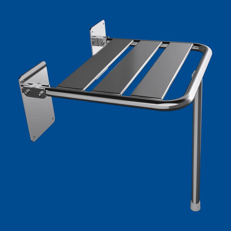 Krzesełko Prysznicowe dla Niepełnosprawnych Uchylne 2 stal nierdzewna z podporą fi25