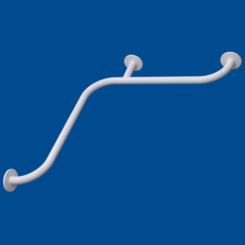 Uchwyt kątowy Prysznicowy dla Niepełnosprawnych 70/70cm biały fi32 + MASKOWNICE