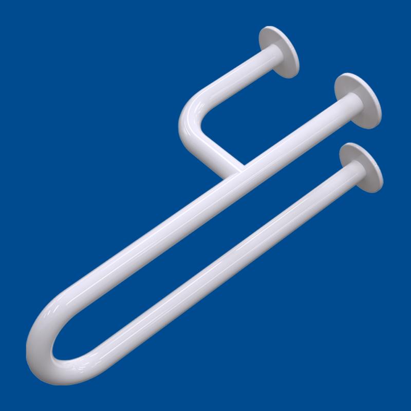 Uchwyt Umywalkowy dla Niepełnosprawnych lewy  40cm biały fi32 + MASKOWNICE