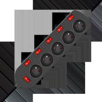 Przedłużacz 3x1mm 5 gniazd + 6 wyłączników 1,5m czarny EPS-501,5W6-2