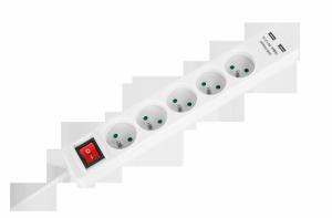 Przedłużacz sieciowy Rebel 5 gniazd + 2 gniazda USB z wyłącznikiem -1,5m