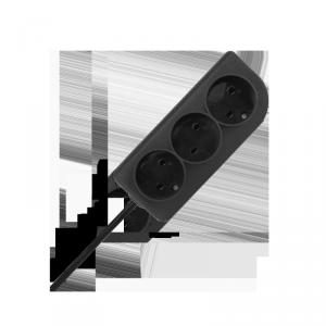 Przedłużacz bez uziemienia  2x1mm 3 gniazda 5m czarny PSN-35-2