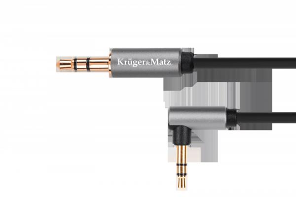 Kabel jack 3.5 wtyk stereo - 3.5 wtyk kątowy stereo 1m  Kruger&Matz Basic
