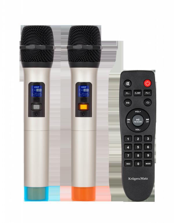 Aktywna kolumna głośnikowa (z 2 mikrofonami bezprzewodowymi UHF, SD, Bluetooth, FM, USB) 60 Watt