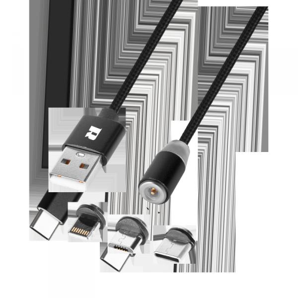 Kabel USB magnetyczny 3w1 microUSB, USB typu C, Lightning 100 cm czarny