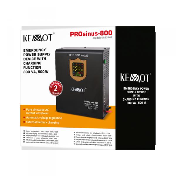 Zasilacz awaryjny KEMOT PROsinus-500W przetwornica z czystym przebiegiem sinusoidalnym i funkcją ładowania 12V 230V 800VA/500W