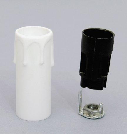 5x świeczka osłonka gilza26 z oprawką E14 BIAŁA 65mm