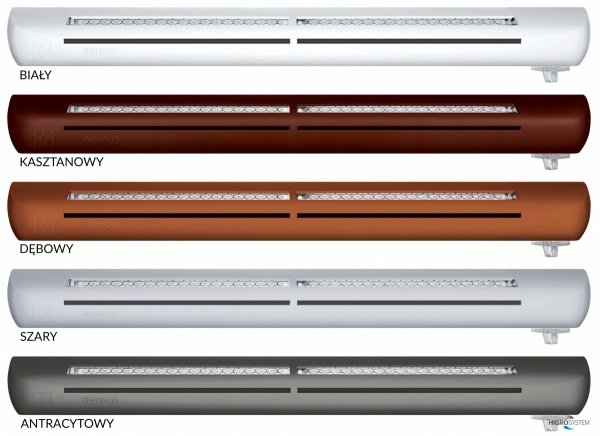 Nawiewnik higrosterowany EXR + podkładka montażowa + okap akustyczny - 5 kolorów