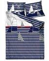 Pościel marynistyczna satynowa GRENO 140x200 + 1x70x80 wz. Sea Stories