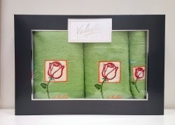 Komplet ręczników 3 częściowy Valentini Bianco wz 02 kolor zielony