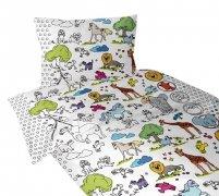 Pościel do kolorowania 100% bawełna 160x200 ZWIERZACZKI - Greno