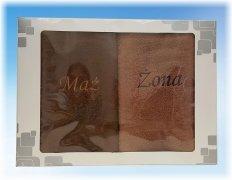 Komplet ręczników Mąż i Żona kolor brązowy