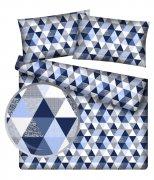 Poszewka na jasiek wz. Trójkąciki niebiesko-białe - rozmiar 40x40 100% bawełna