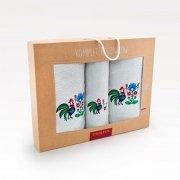 Trzyczęściowy komplet ręczników Banan w pudełku - Kogut Stalowy